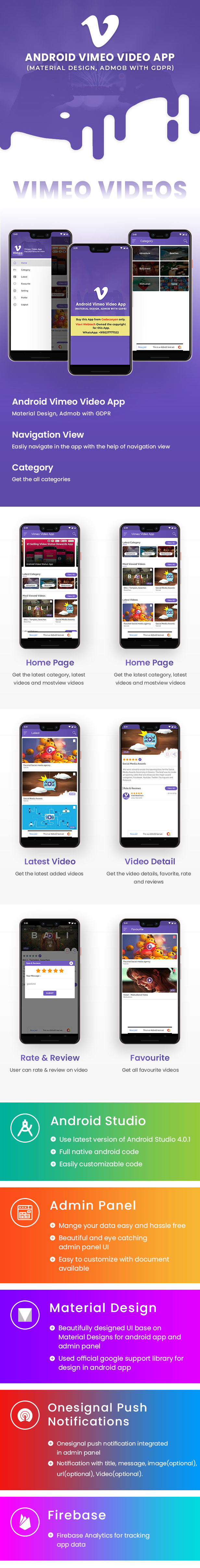 Android Vimeo Video App (Material Design,Admob with GDPR ) - 5